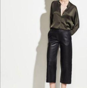 vince. Lamb leather culottes wide leg high rise S